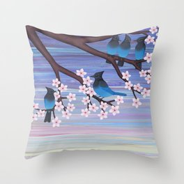Steller's jays and cherry blossoms Throw Pillow