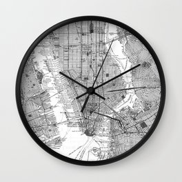 Vintage Map of New York City (1918) BW Wall Clock