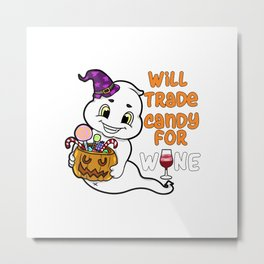 ghosty Halloween Trick or Treat Wine Ghost Present Gift Metal Print