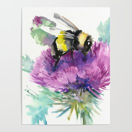 Bumblebee and Thistle Flower, honey bee floral Poster