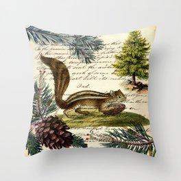 Rustic christmas winter evergreen pine tree woodland chipmunk Throw Pillow
