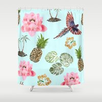 hawaiian Shower Curtains featuring Hawaiian by Stag Prints