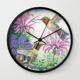 Hummingbird and Bergamot Wall Clock