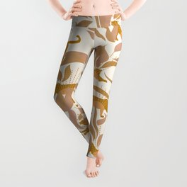 Golden Sunset with Panthers and Plants / 70's Jungle Leggings