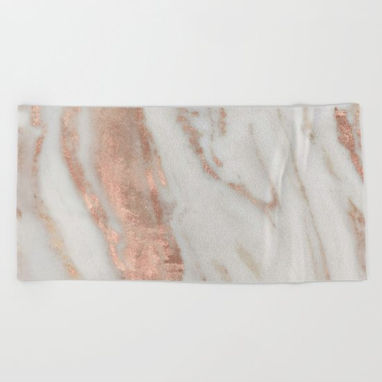 Marble Rose Gold Shimmery Marble Beach Towel