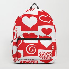 Love Pattern Text & Hearts Backpack