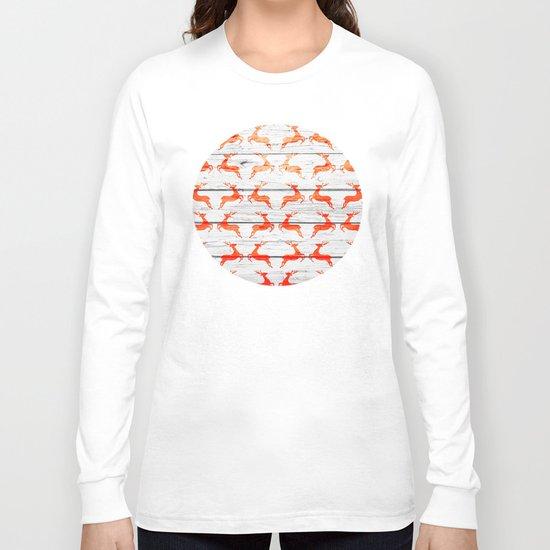 Christmas Pattern on Wood 01 Long Sleeve T-shirt
