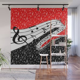 Red and black music theme Wall Mural