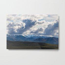 Denali peaking through the clouds Metal Print
