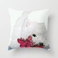 westie Throw Pillows featuring Tessie Westie Dog by Rachel's Pet Portraits