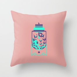 """poster : bottle 8 """"verre preambule"""" Throw Pillow"""