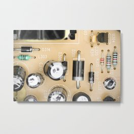 Dusty electrical components macro top view Metal Print