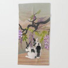 Two Rabbits Under Wisteria Tree Beach Towel