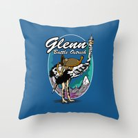 warcraft Throw Pillows featuring Glenn, Battle Ostrich by Siegeworks