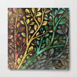 Gemstone Tree with golden decor Metal Print