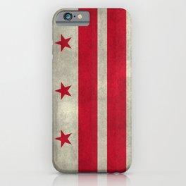 Washington D.C flag with worn textures iPhone Case