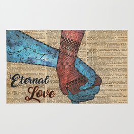 Holding Hands,Eternal Love,Space Dictionary Art Rug