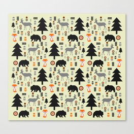 Winter bears, foxes and deer Canvas Print