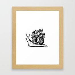 Mushroom Snail Linocut Framed Art Print