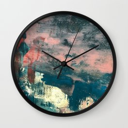 Lighthouse: a bold, mixed-media abstract piece in blues, pink, and gold Wall Clock