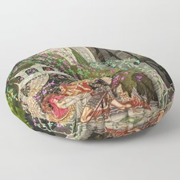 The Prince Looks down on Sleeping Beauty in the Garden of Delights by Kay Nielsen Floor Pillow
