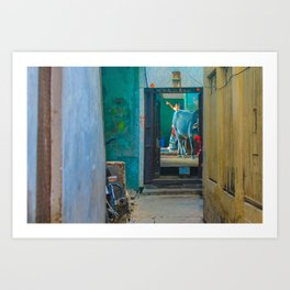 India Alleyway Scene Art Print