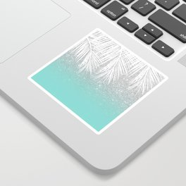 Modern tropical white palm tree silver glitter ombre on robbin egg blue turquoise Sticker
