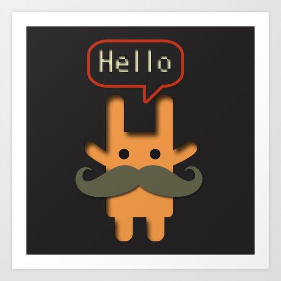 Hello Mustache Art Print