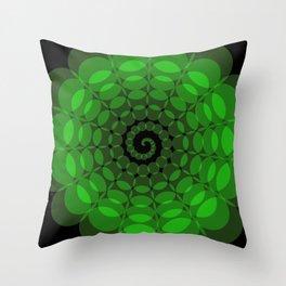 complex green spiral Throw Pillow