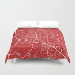 Denton Map, USA - Red Duvet Cover