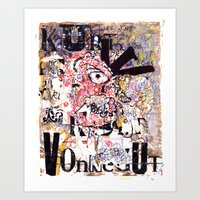 kurt vonnegut Art Prints featuring Kurt Vonnegut Portrait by Karl Frey