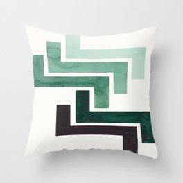 Deep Green Pattern Mid-century Modern Simple Geometric Pattern Watercolor Minimalist Art Squares Throw Pillow