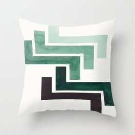 Deep Green Pattern Mid-century Modern Simple Geometric Pattern Watercolor Minimalist Art Squares Throw Pillow