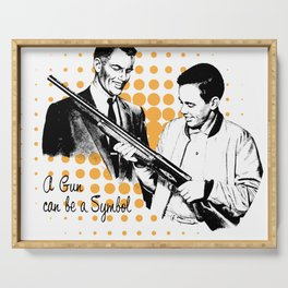 Retro young man with gun Serving Tray
