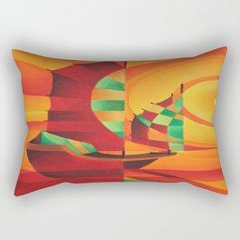 Cubist Junks on A Red Sea Rectangular Pillow