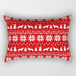Siberian Husky Silhouettes Christmas Sweater Pattern Rectangular Pillow
