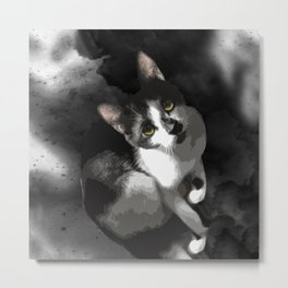 Gypsy Da Fleuky Cat and the Black Starry Night Metal Print