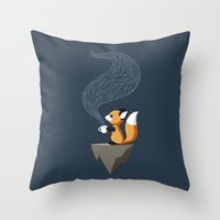tea Throw Pillows featuring Fox Tea by Freeminds