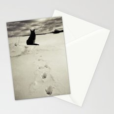 Winter landscape with dog  Stationery Cards