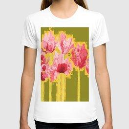PINK-RED MODERN TULIP FLOWERS KHAKI GREEN ART T-shirt