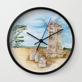 Watercolor illustration of a mill in the field. Wall Clock