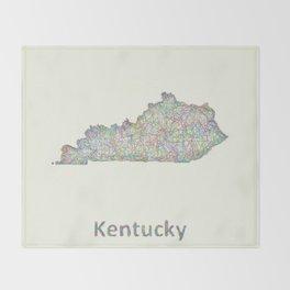 Kentucky map Throw Blanket