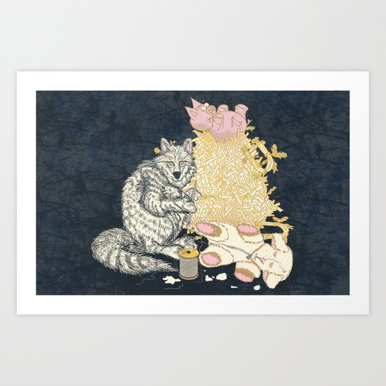 Big Bad Wolf Only Needed a Needle Art Print