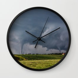 Twins - Two Tornadoes Touch Down Near Dodge City Kansas Wall Clock