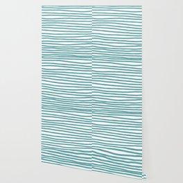 Ocean Green Hand-painted Stripes Wallpaper
