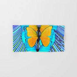CONTEMPORARY BLUE & YELLOW BUTTERFLIES GRAPHIC ART Hand & Bath Towel