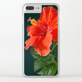 Red Darling Hibiscus Clear iPhone Case