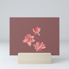 3 Lotus Flowers on light violet background Mini Art Print