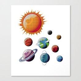 Planets Orbits Sun Moon Earth Galaxy Space Nerds Canvas Print
