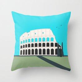 Rome, Italy Colosseum Landscape / Roma Il Colosseo, Italia Throw Pillow